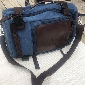 Men's Brief Backpack Convertible Bag Blue Brown EC